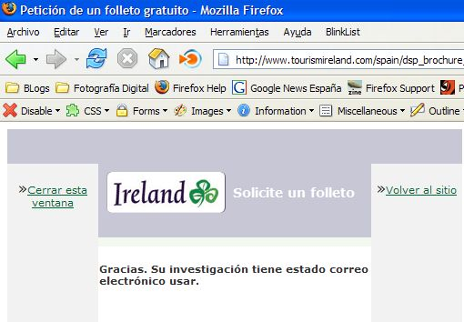 solicitud de folleto de turismo irlanda 2007